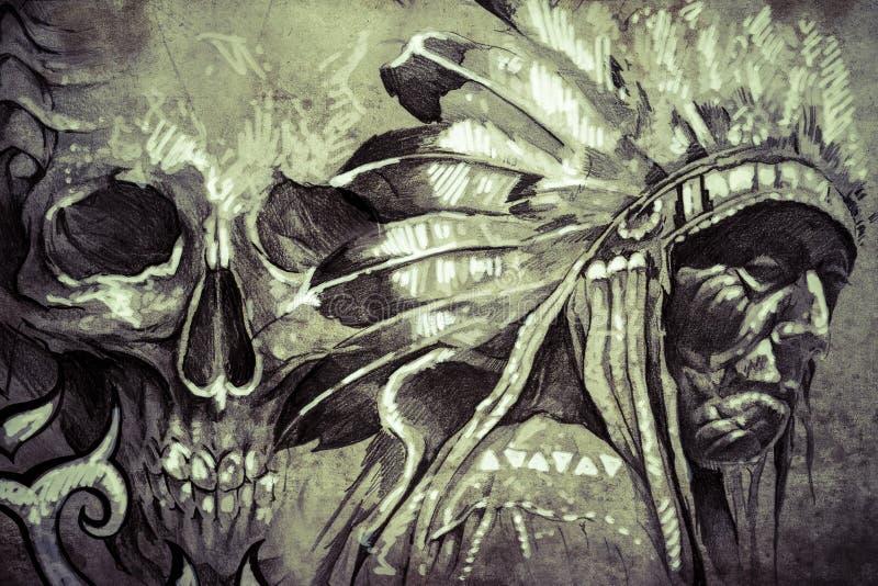 Татуируйте эскиз американского индийского вождя племени ратника с черепом иллюстрация вектора