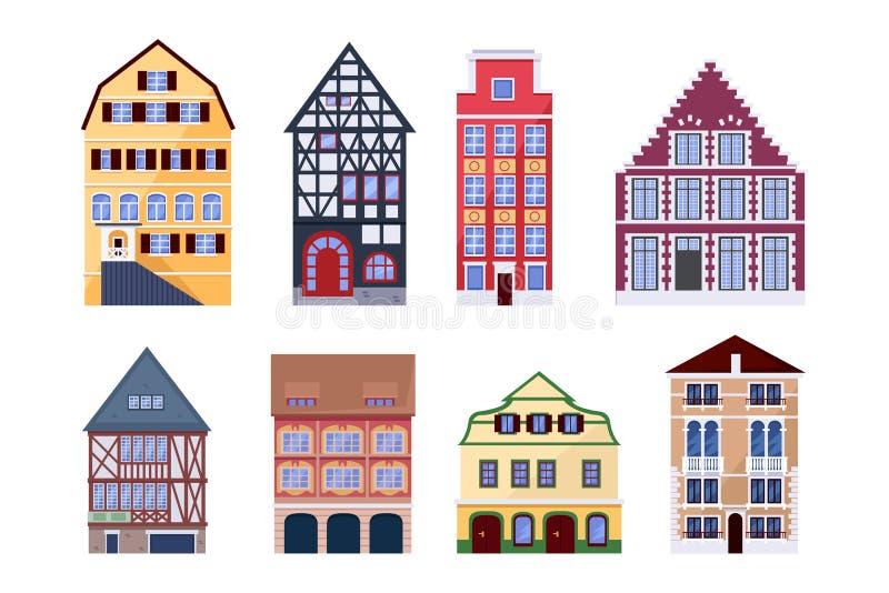 Таунхаусы Европы старые Иллюстрация вектора здания изолированная квартирой Элементы дизайна архитектуры города иллюстрация вектора