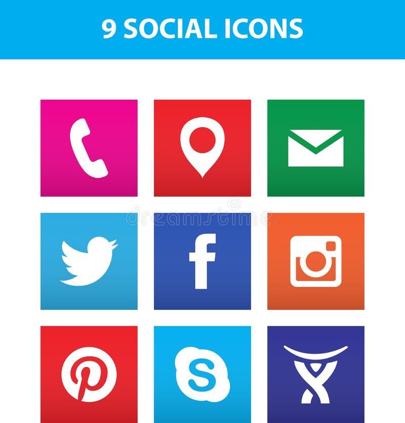 Таллин, Эстония - 26-ое июня 2016: Комплект популярных социальных значков средств массовой информации: Facebook, Twitter, Pintere иллюстрация штока