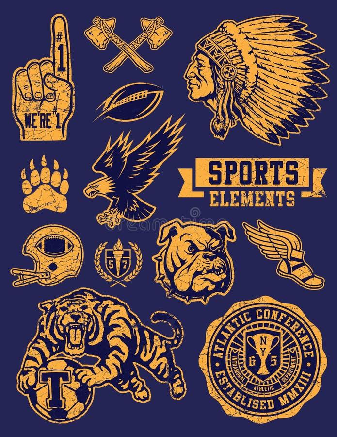 Талисманы спорт и комплект вектора логотипа иллюстрация вектора
