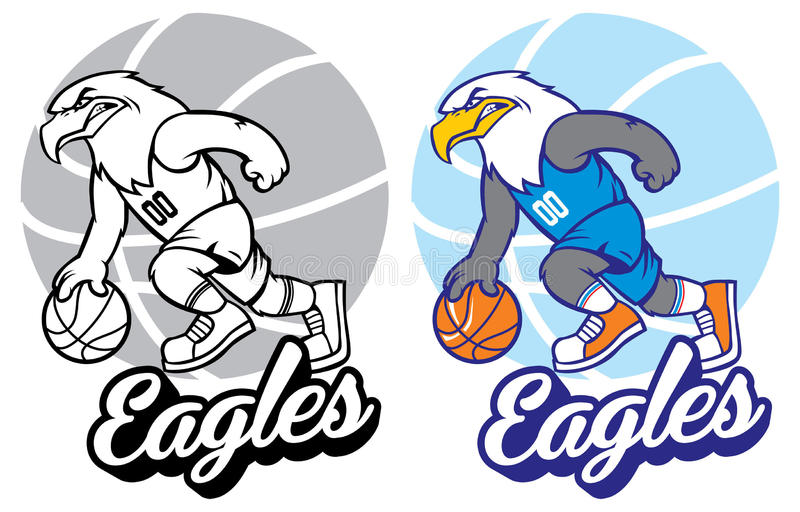Талисман баскетбола орла иллюстрация вектора