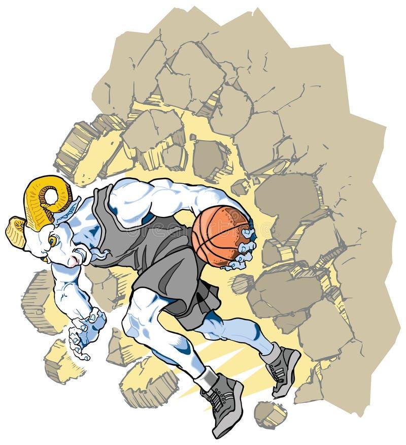 Талисман баскетбола Ram снежных баранов разбивая Throu иллюстрация вектора