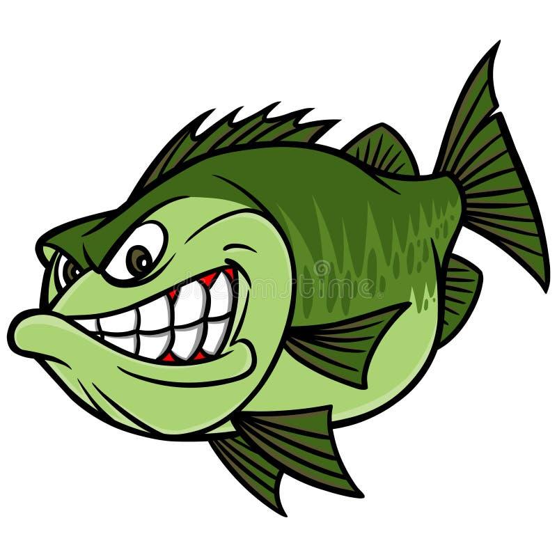 Талисман басовой рыбной ловли иллюстрация штока