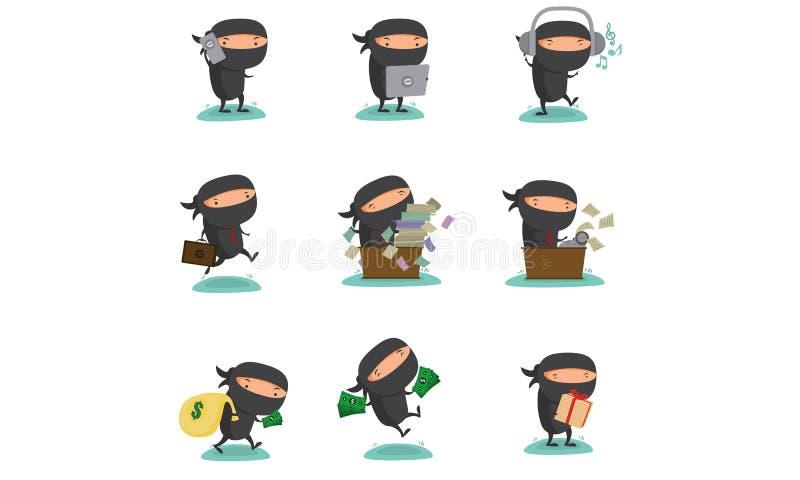 Талисман Ninja установил 3 иллюстрация вектора