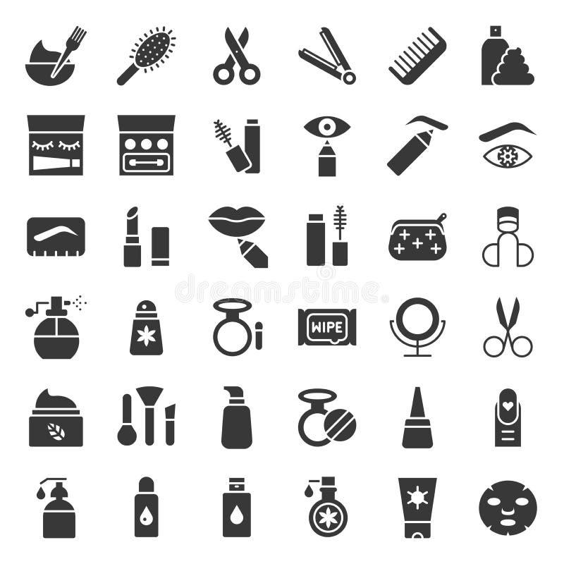 Твердое тело или продукты значка глифов, косметических и личных заботы бесплатная иллюстрация
