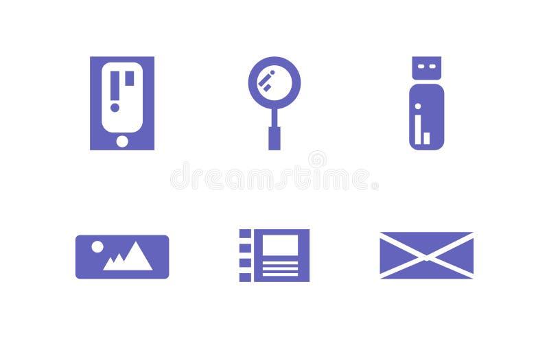 Твердые значок, информация и вектор технологии иллюстрация вектора