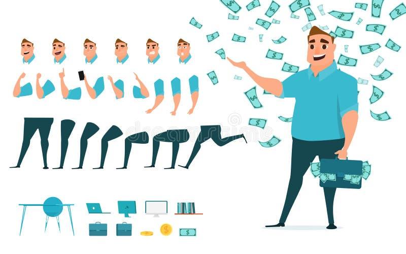 Творение характера бизнесмена установленное для анимации Разделяет шаблон тела Различные эмоции, представления и ход, идти, стоя бесплатная иллюстрация