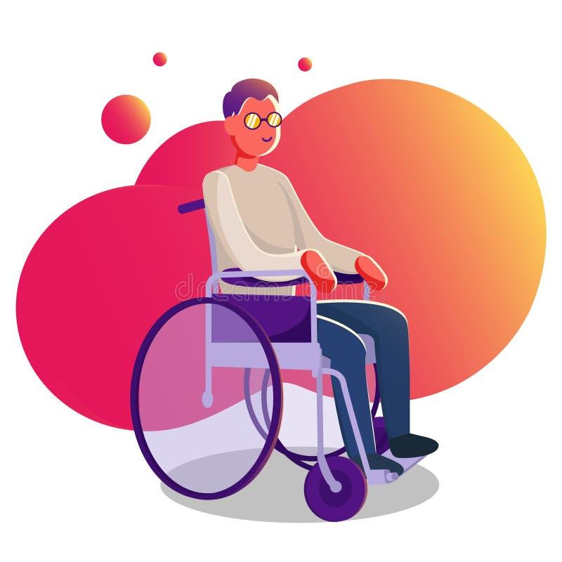 Творение характера человека в инвалидной коляске иллюстрация плоск-стиля artoon infographic стоковое изображение