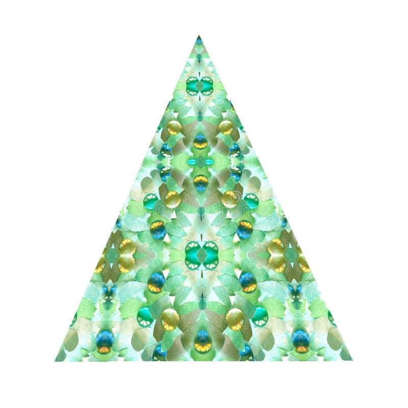 Творческая абстрактная зеленая рождественская елка, изолированная на белой предпосылке Треугольник перепада Значок пирамиды иллюстрация вектора