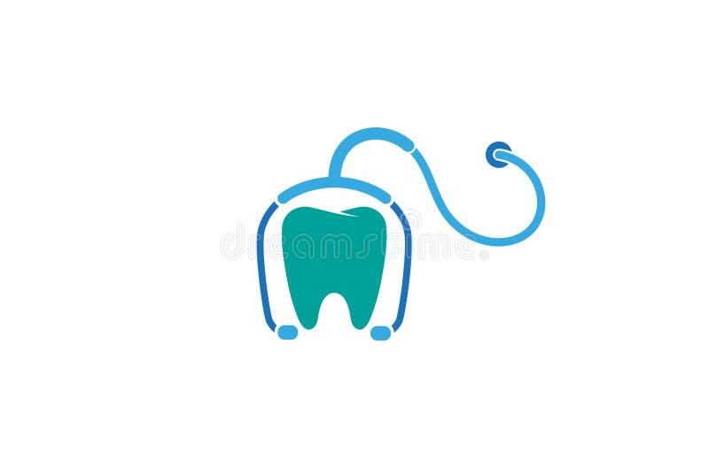 Творческая абстрактная иллюстрация символа вектора дизайна логотипа зубов стетоскопа иллюстрация вектора