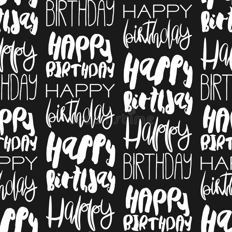 Творческая безшовная картина с приветствиями дня рождения иллюстрация штока