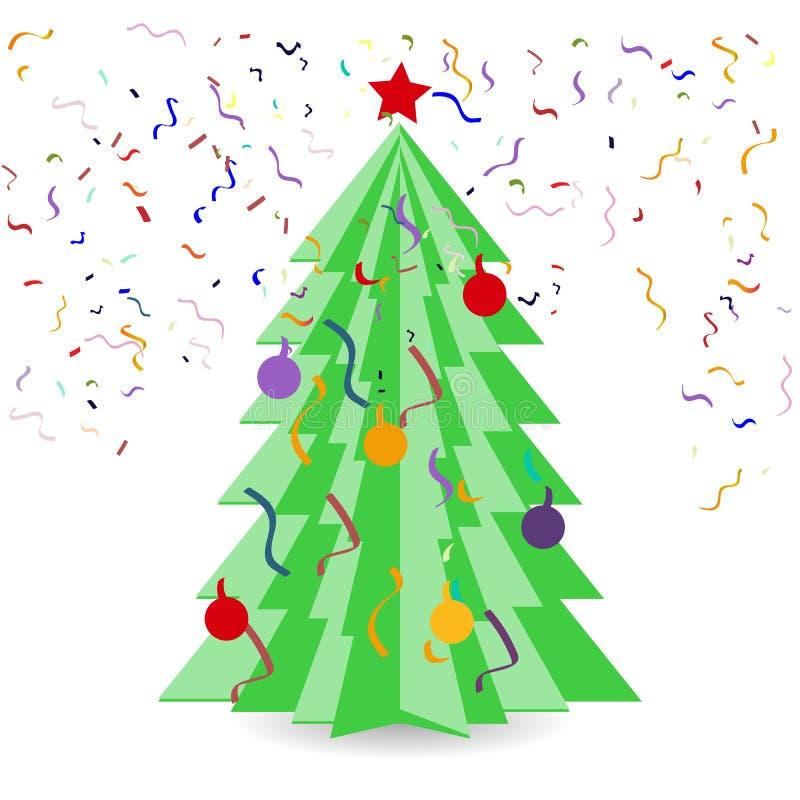Творческая бумажная рождественская елка Origami На белой предпосылке также вектор иллюстрации притяжки corel иллюстрация штока