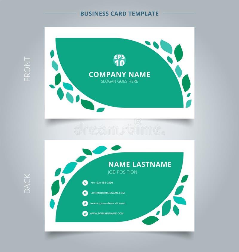 Творческая визитная карточка и leav шаблона карточки имени графическое зеленое иллюстрация штока