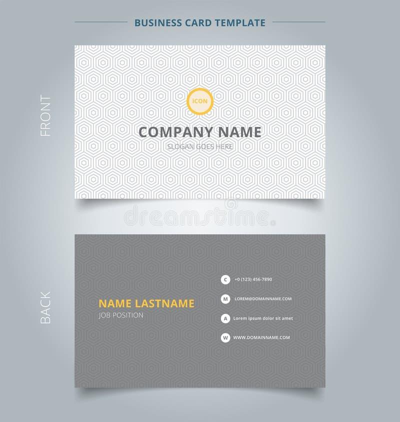 Творческая визитная карточка и patte шестиугольника шаблона карточки имени серое иллюстрация штока