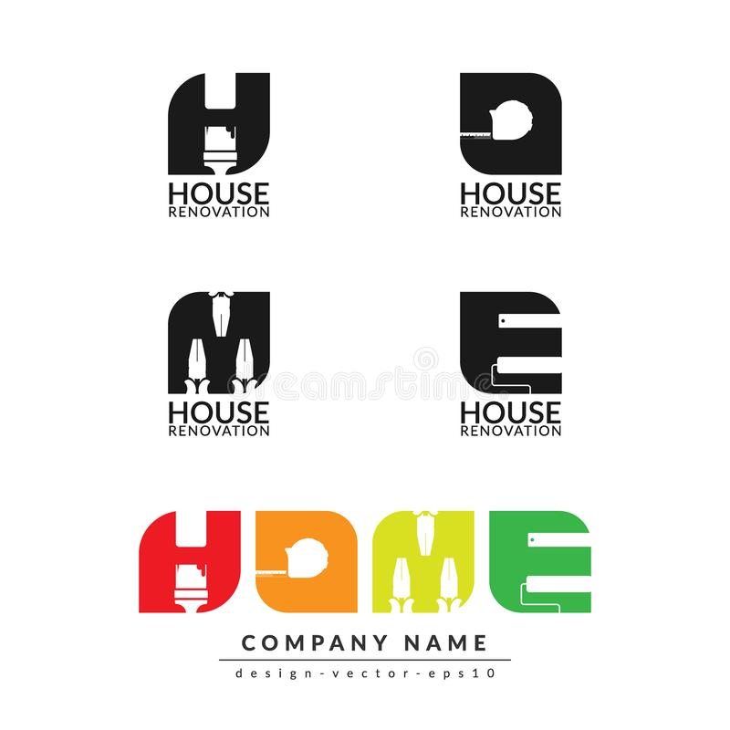 Творческая домашняя концепция реновации, изолированный шаблон дизайна логотипа иллюстрация вектора