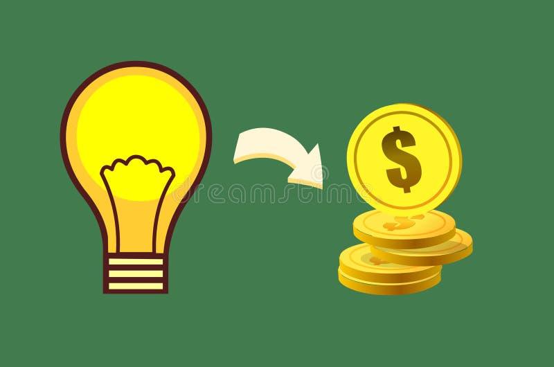 Творческая идея делая концепцию денег иллюстрация вектора