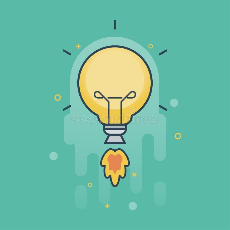 Творческая идея со знаком электрической лампочки летания, концепцией дела, иллюстрацией вектора иллюстрация штока