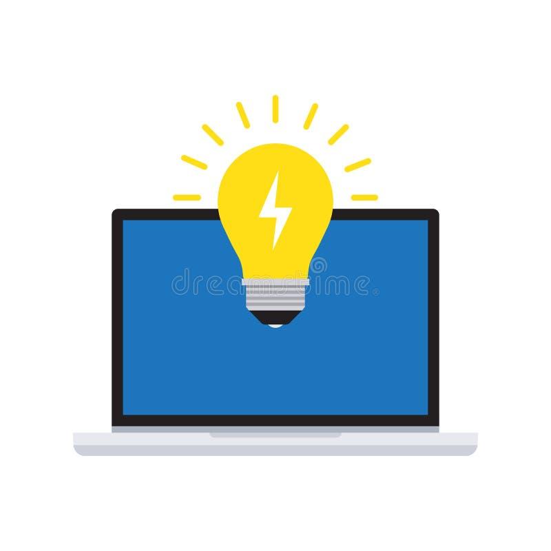 Творческая идея с электрической лампочкой и компьютером иллюстрация вектора