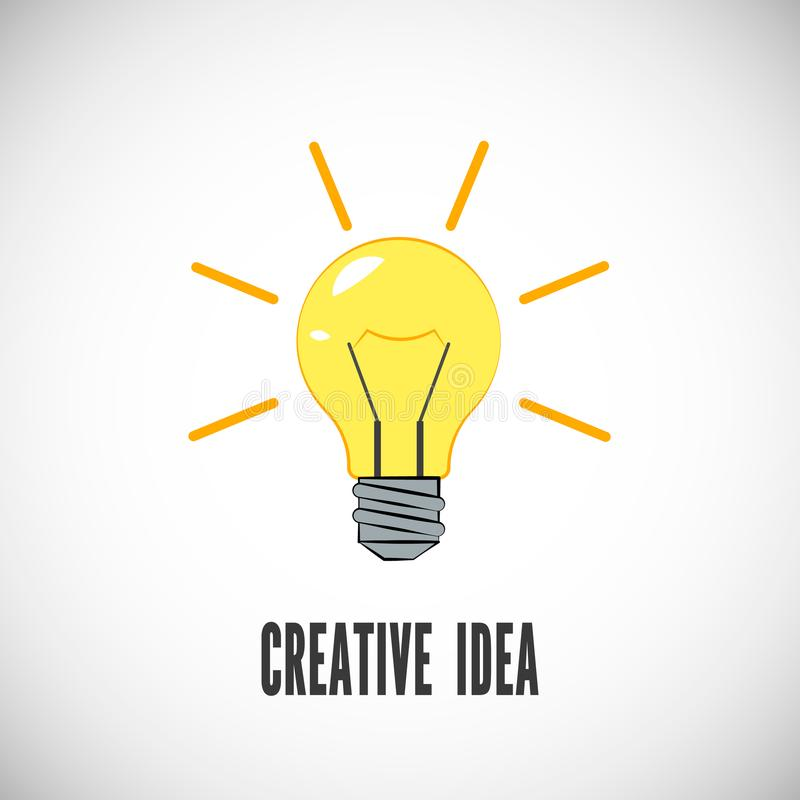 творческая идея Электрическая лампочка с блеском лучей Дело или начинает вверх концепцию Символ энергии и идеи также вектор иллюс иллюстрация штока