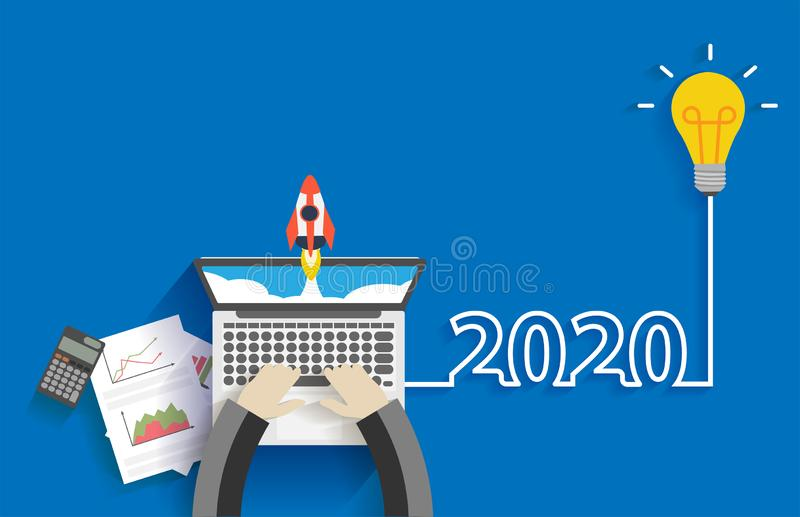 Творческая идея электрической лампочки дело 2020 Новых Годов начинает вверх концепцию идей иллюстрация вектора