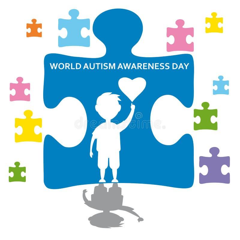 Творческая иллюстрация вектора концепции на день осведомленности аутизма мира Смогите быть использовано для знамен, предпосылок,  бесплатная иллюстрация