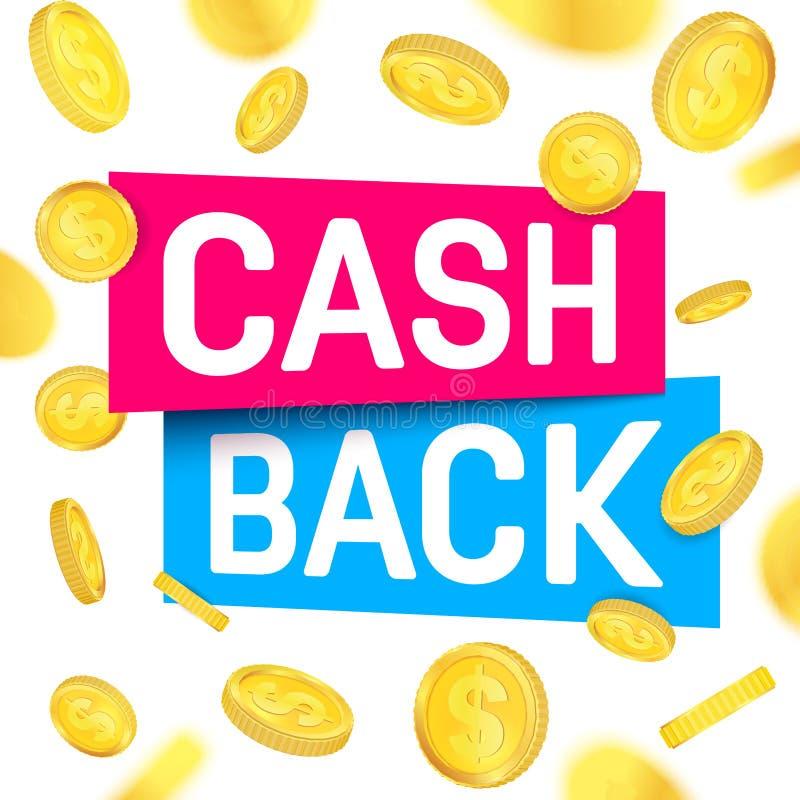 Творческая иллюстрация вектора наличных денег назад, cashback возвращает, бирка возмещения денег изолированная на предпосылке Сти иллюстрация штока