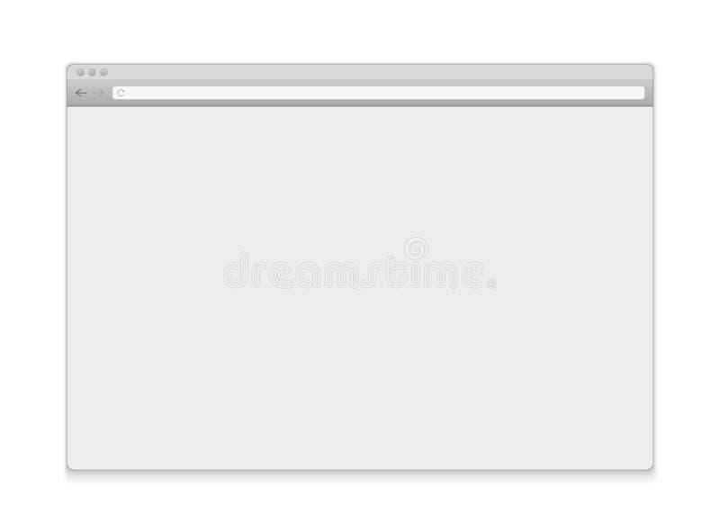 Творческая иллюстрация вектора открытого интернет-браузера изолированная на предпосылке Окно дизайна искусства, шаблон поиска рам иллюстрация вектора