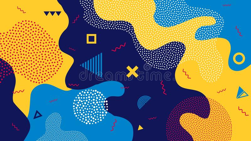 Творческая иллюстрация вектора предпосылки выплеска цвета шаржа детей Стиль дизайна ультрамодный 80s-90s Мемфиса искусства бесплатная иллюстрация