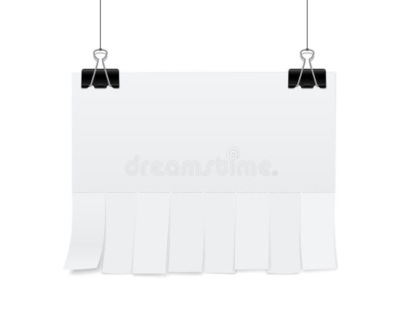 Творческая иллюстрация вектора пустой рекламы бумаги чистого листа с выскальзываниями отрезка разрыва- изолированная на прозрачно бесплатная иллюстрация