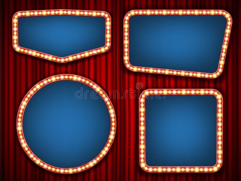 Творческая иллюстрация вектора ретро комплекта рамки электрической лампочки изолированного на прозрачной предпосылке Украшение зн иллюстрация вектора
