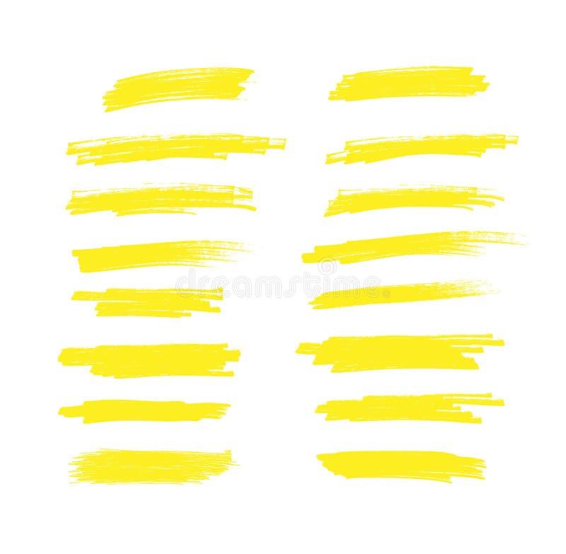 Творческая иллюстрация вектора ходов пятна, линий отметки Японии самого интересного руки вычерченных желтых Чистит нашивки щеткой бесплатная иллюстрация