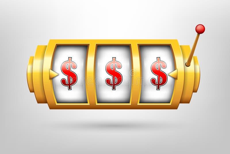 Творческая иллюстрация вектора 3d играя в азартные игры вьюрка, торговый автомат казино изолированный на прозрачной предпосылке К иллюстрация вектора