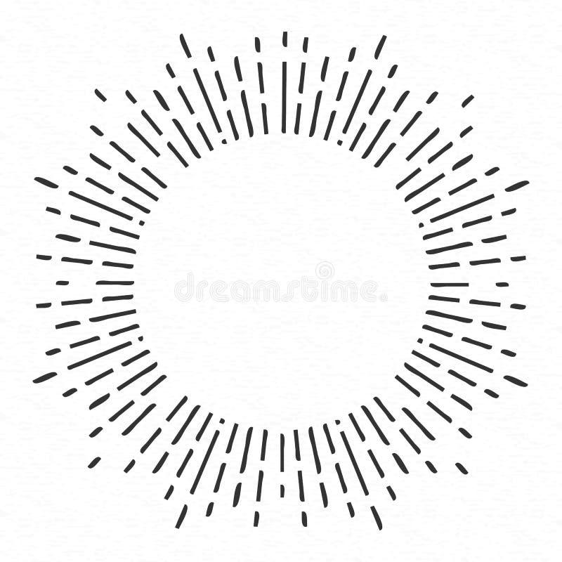 Творческая иллюстрация геометрической нарисованных рукой лучей солнца изолированных на предпосылке Солнечный свет дизайна искусст иллюстрация вектора
