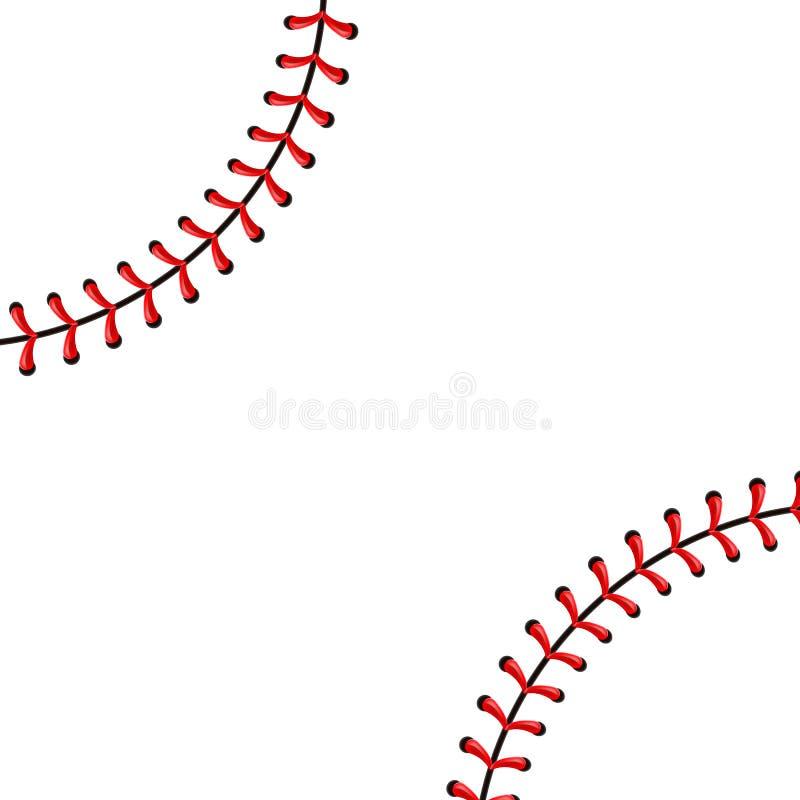 Творческая иллюстрация стежков шарика бейсбола спорт, красный шов вектора шнурка изолированный на прозрачной предпосылке искусств иллюстрация штока