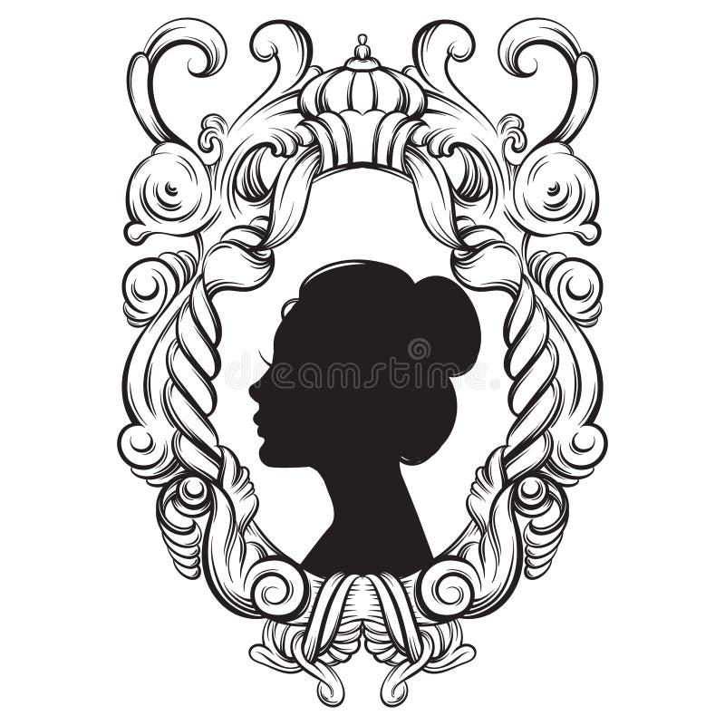 Творческая иллюстрация вектора профиля женщины bautiful молодого иллюстрация штока