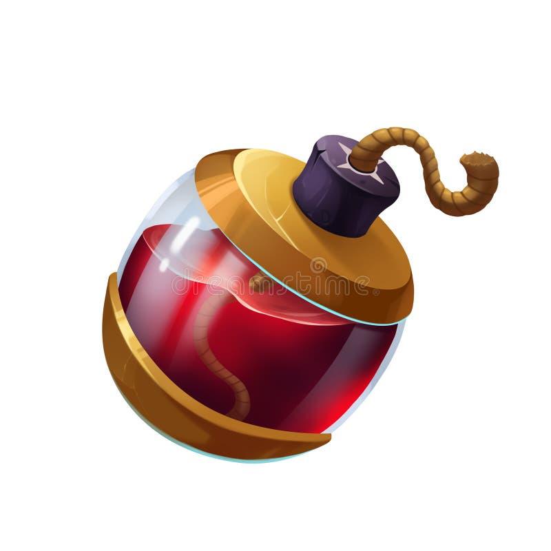 Творческая иллюстрация и новаторское искусство: Красная бомба волшебного зелья бесплатная иллюстрация