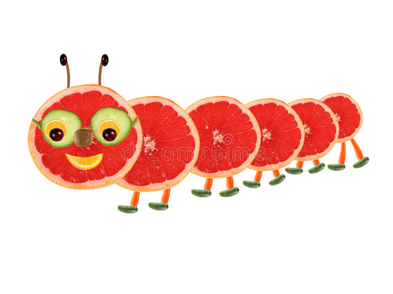Творческая концепция еды Смешная маленькая гусеница сделанная от плодоовощ иллюстрация вектора