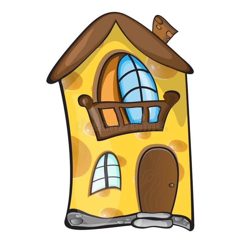 Творческая концепция - небольшой дом сделанный из желтого пористого сыра также вектор иллюстрации притяжки corel бесплатная иллюстрация