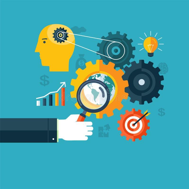 Творческая концепция потока операций, оптимизирования поисковой системы или метода мозгового штурма иллюстрация вектора