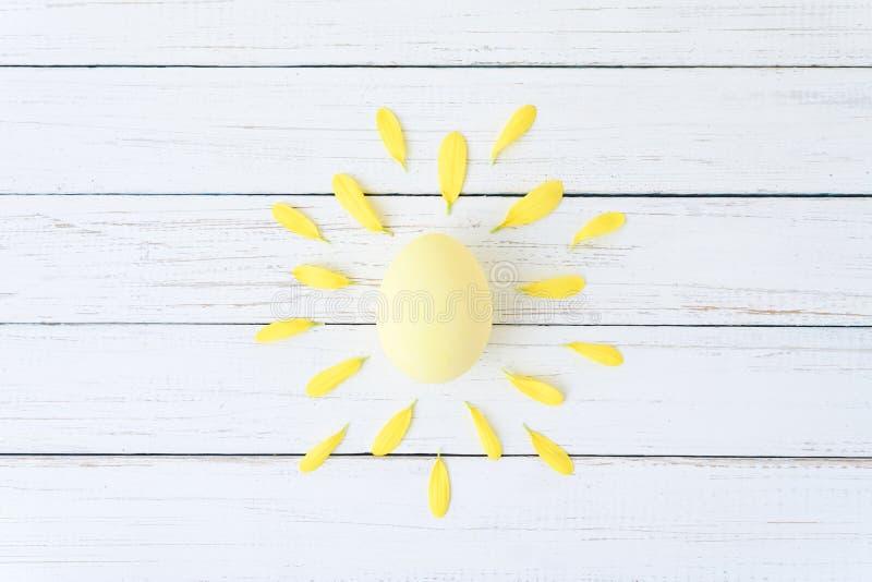 Творческая концепция сделанная из лепестков яйца и цветка цыпленка как солнце на белой предпосылке стоковые фото