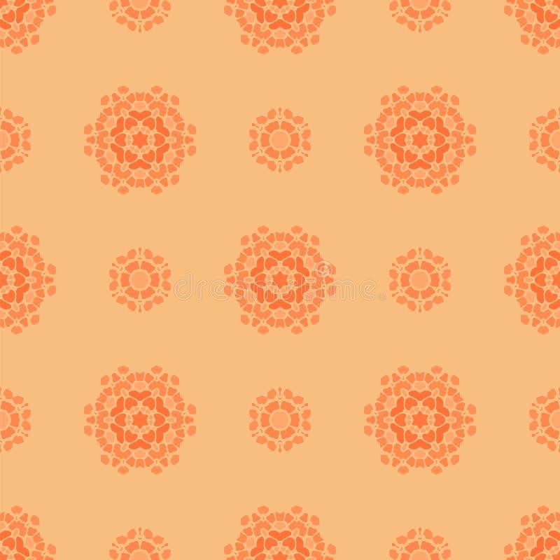 Творческая орнаментальная безшовная оранжевая картина иллюстрация штока