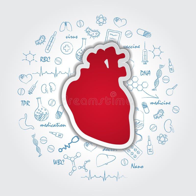 Творческая предпосылка медицинского обслуживания с человеческой анатомией сердца Медицинский символ кардиологии также вектор иллю бесплатная иллюстрация