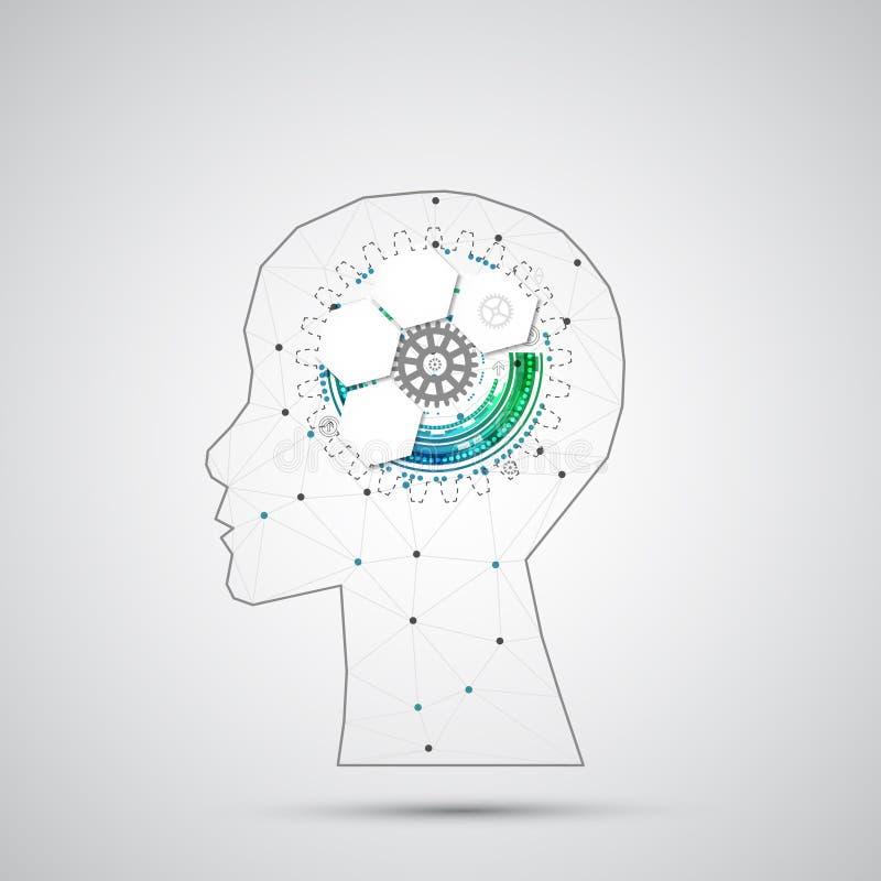 Творческая предпосылка концепции мозга с триангулярной решеткой Artifici иллюстрация штока