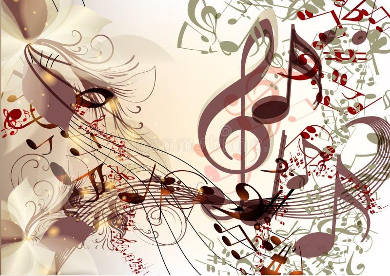 Творческая предпосылка музыки в психоделическом стиле с примечаниями иллюстрация вектора