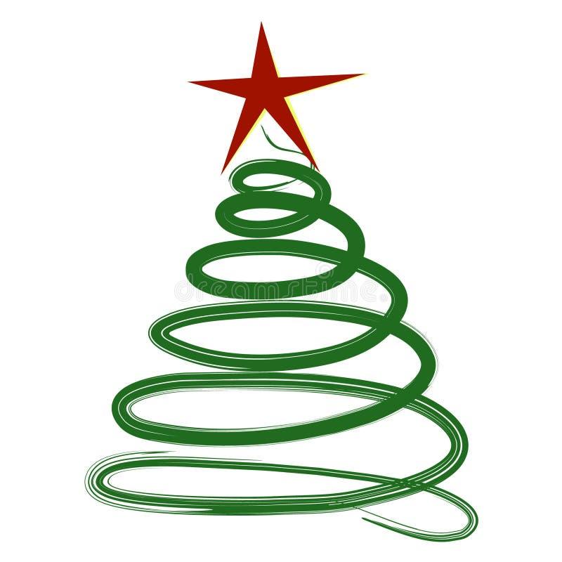 Творческая рождественская елка Doodle изолированная на белой предпосылке бесплатная иллюстрация
