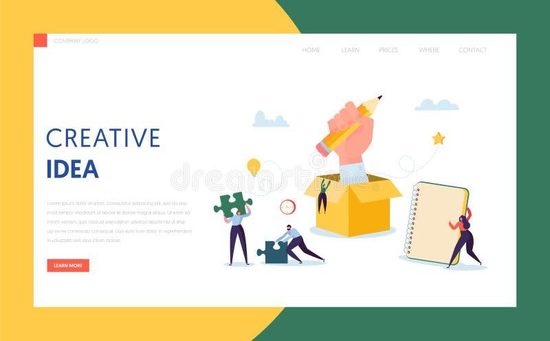 Творческая страница посадки технологии дела идеи Работа команды характера совместно на плане решения успеха для проекта бесплатная иллюстрация