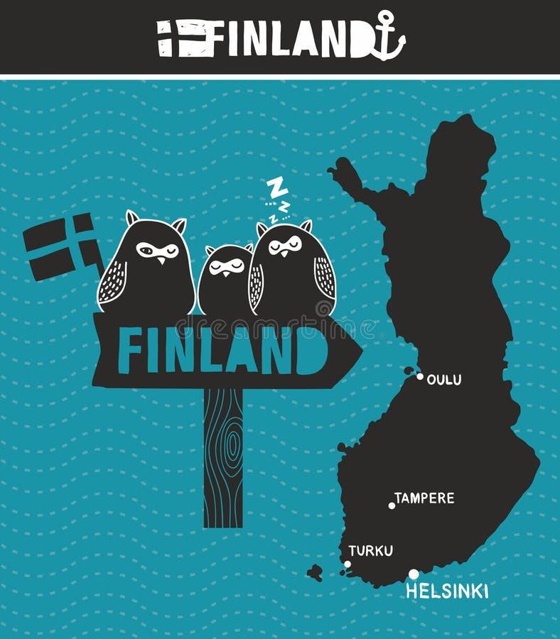 Творческая Финляндия Карта и деревянный дорожный знак с милыми сычами иллюстрация вектора