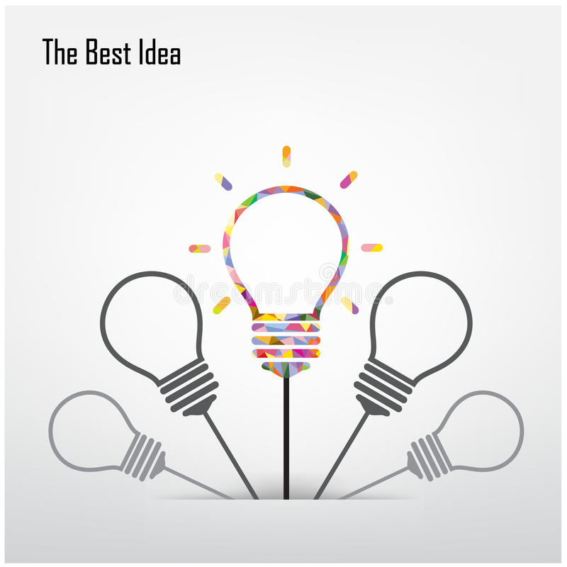 Творческая электрическая лампочка и самая лучшая концепция идеи иллюстрация вектора