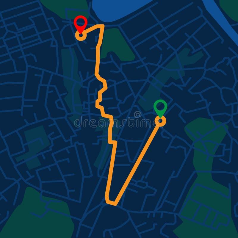 Творческая infographic навигация карты города для вашего дизайна концепции приборной панели Взгляд верхней части и nighttime r иллюстрация вектора