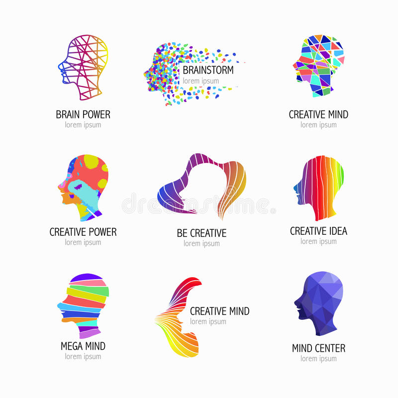 Творческие значки разума, учить и дизайна Голова человека, символы людей также вектор иллюстрации притяжки corel иллюстрация штока